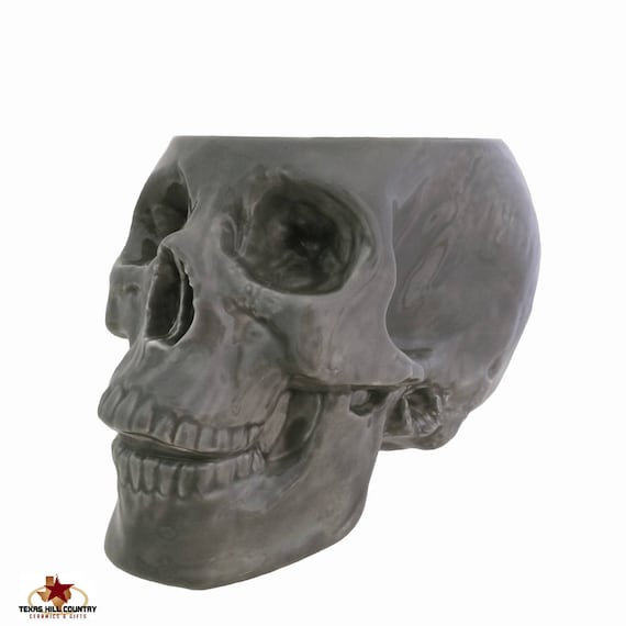 Large Gray Skull Holder or Container for Make-up Brushes, Plants, Kitchen Bowl, Countertop Catch All, Bath Vanity Organizer