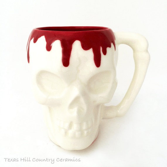 White Skull Coffee Cup or Mug with Red Blood Running Over Edge Solid Bone Style Handle 8 Ounce Capacity Food Safe Glaze Slip Cast Ceramics