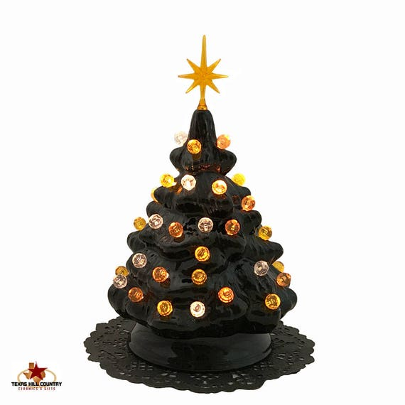 Black Ceramic Halloween Tree for Tabletop with Orange Gold and Clear Round Globe Lights and Star Electric Light Fixture UL Approved