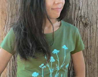 df0f2f3e4 Womens Graphic Short Sleeve TShirt - Bamboo Organic Cotton Tee - Womens T  Shirt - Green Tee Shirt - Screen Printed Chamomile T Shirt