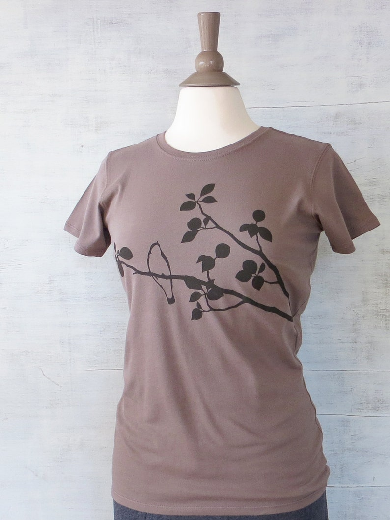 Womens Graphic Tee Bird T Shirt Organic Cotton T Shirt