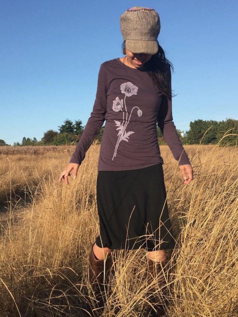 2d841f35d Organic Bamboo T Shirt Womens Graphic Tee Poppy Screen | Etsy