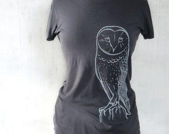 Womens Graphic Short Sleeve TShirt - Bamboo Organic Cotton Tee - Womens T Shirt - Grey Tee Shirt - Screen Printed Barn Owl T Shirt - Owl Tee