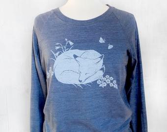 Womens Graphic Sweatshirt - Navy Sweatshirt for Women - Long Sleeve Womens Sweatshirt - Printed Womens Sweat Shirt - Sleeping Fox