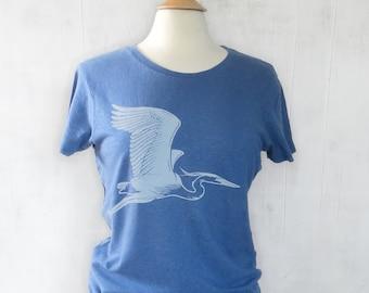 Bird T shirt for Women with Great Blue Heron Graphic, Organic Cotton and Hemp Tshirt – Great Bird Lover Gift