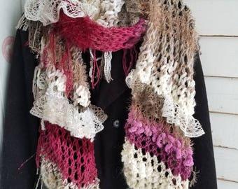 OOAK Hand Knit Boho Scarf Wrap Shawl