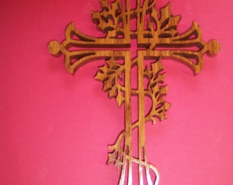 Ornate Scrolled Wooden Cross Wall Decor