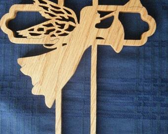 Ornate Scrolled Angel Wood Cross Wall Decor