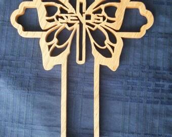 Ornate Scrolled Butterfly Wood Cross Wall Decor