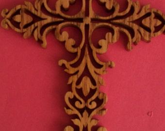 Ornate Scrolled Wood Cross  Heart, Wedding, Wall Decor