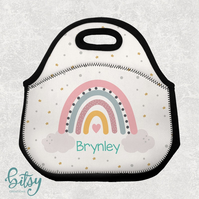 Personalized Rainbow Lunch Tote  Lunch Bag for Kids  image 0