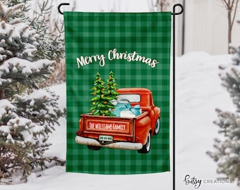 Personalized Christmas Truck Yard Flag - Garden Flag - Custom Made with Last Name - 12x18 inch Flag - Red Truck with Christmas Trees