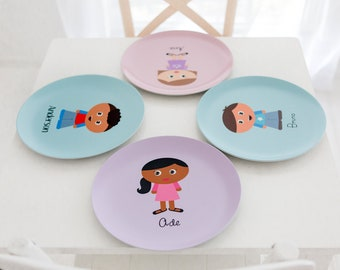 Custom Kidlet Plate - Personalized Melamine Plate, Bowl, Placemat, Mug, or Tableware Set made to look like your child! Looks Like Me