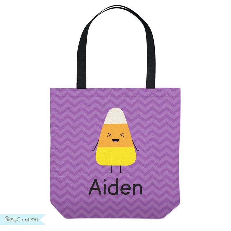 Personalized Laughing Candy Corn Purple Tote for Kids Trick or Treat bag Library Bag Halloween Tote Bag Three Sizes
