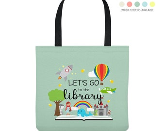 Personalized Library Tote Bag - Custom Made Library Book Bag - Three Sizes and Five Colors to Choose From
