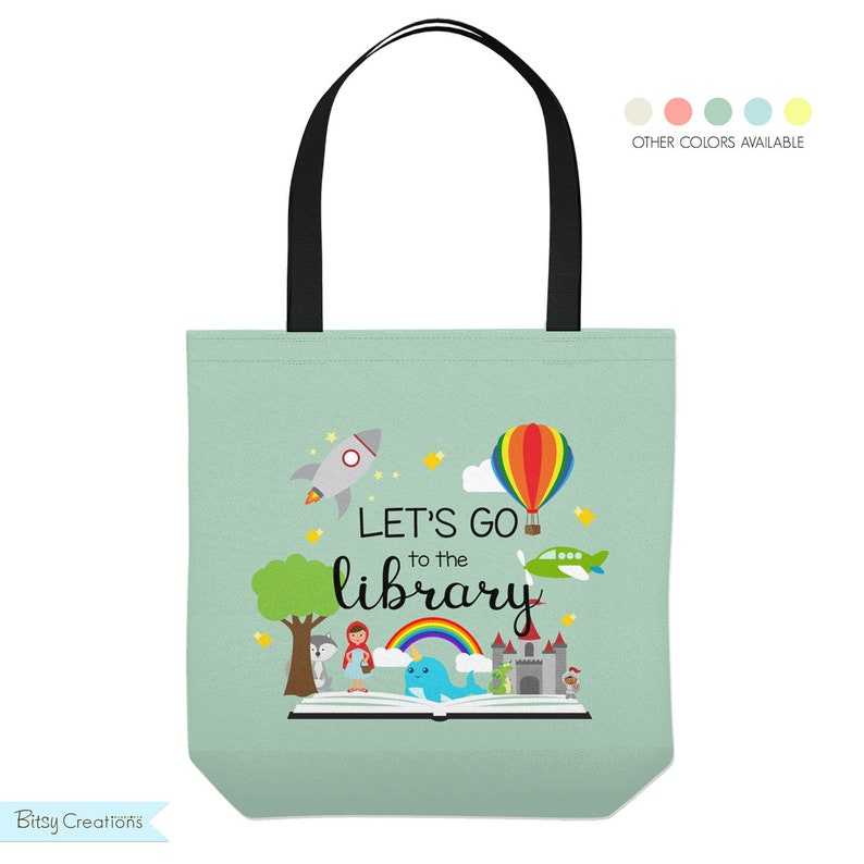 Personalized Library Tote Bag  Custom Made Library Book Bag  Dark Mint Green