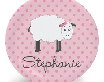 Sheep Plate - Pink Melamine Bowl or Plate Personalized with Child's Name (Plastic)