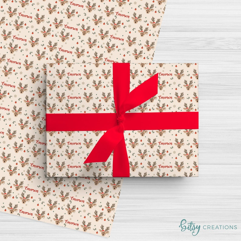 Personalized Christmas Wrapping Paper  Reindeer on Natural image 0