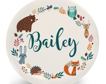 Thanksgiving Plate for Kids - Personalized Autumn Animals Dinner Set - Plate, Bowl, Mug, Placemat, or Set with Child's Name - Plastic