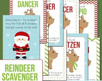 Printable Reindeer Scavenger Hunt PDF Instant Download Children's Christmas Activity