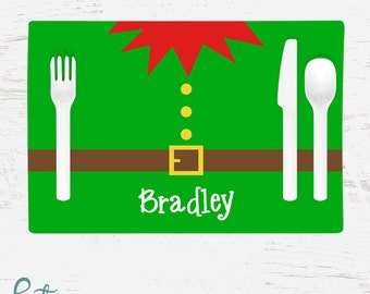 Personalized Christmas Placemat for Kids - Elf Belly Placemat - Custom Made with Child's Name - Christmas Placemat