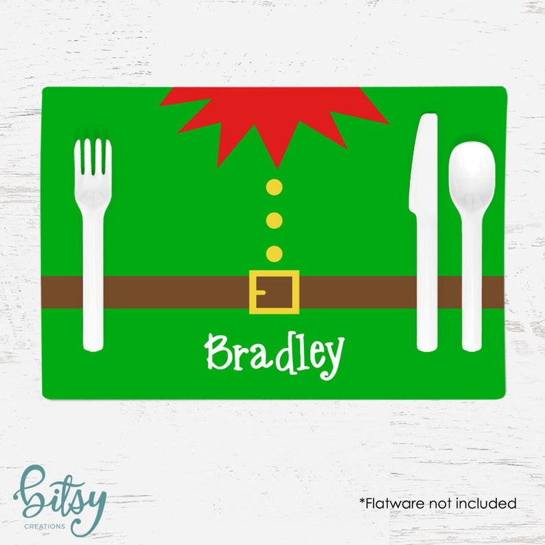 Personalized Christmas Placemat for Kids  Elf Belly Placemat image 0