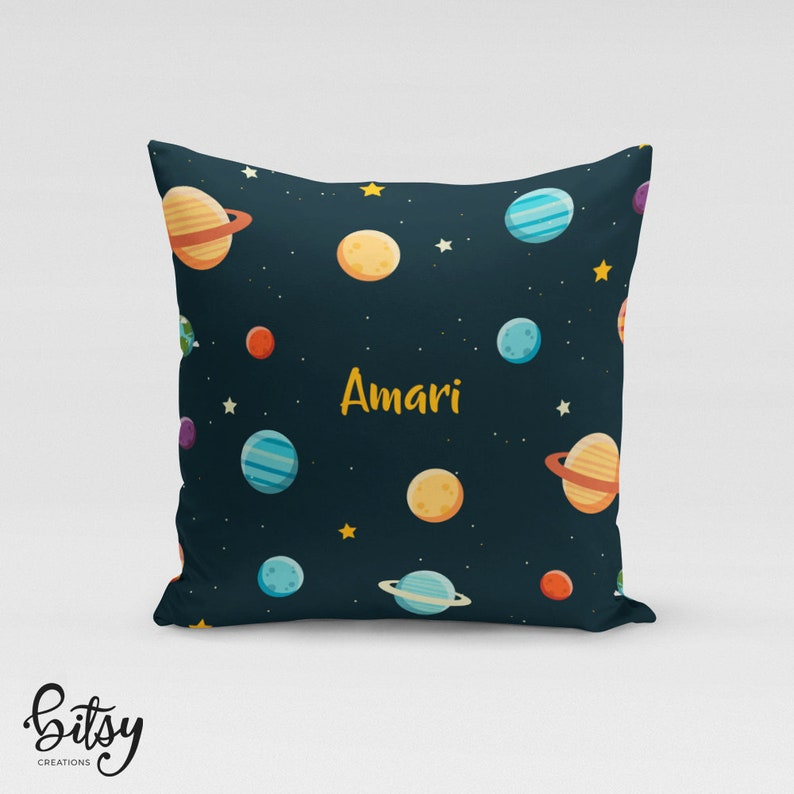 Space Throw Pillow Cover  Personalized Planets Pillow Cover  image 0