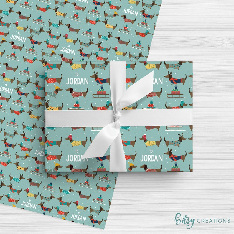 Personalized Christmas Wrapping Paper  Winter Dachshund Dogs image 0