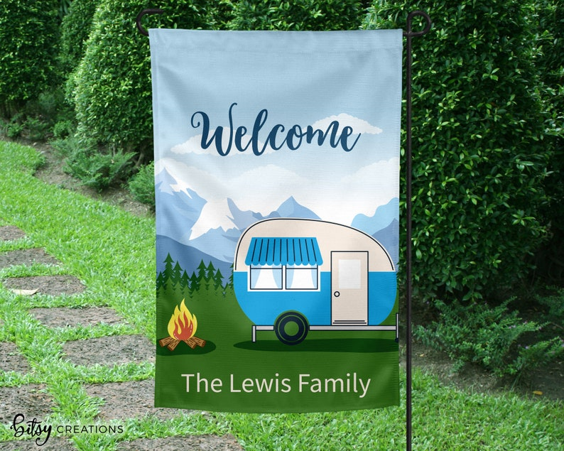 Camper Welcome Flag  Yard Flag with Motor Home  Personalized image 0