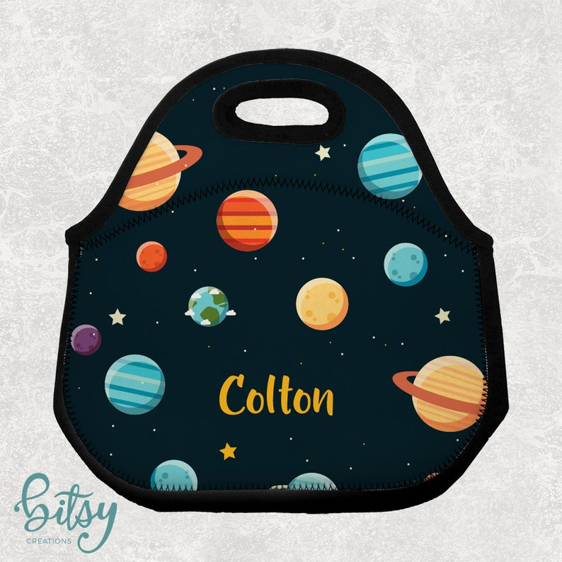 Personalized Space Lunch Tote  Lunch Bag for Kids  Washable image 0
