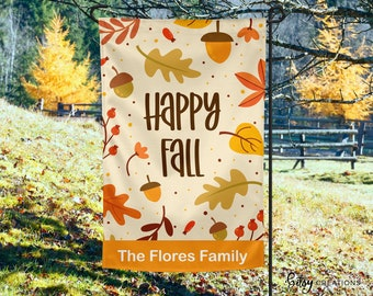 Happy Fall Garden Flag - Autumn Yard Flag - Personalized with Last Name - Custom Made 12x18 inch Welcome Flag