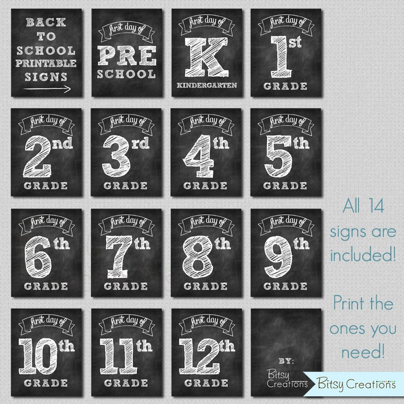 picture regarding First Day of School Printable Sign identified as Initial Working day of University Printable Indications Quick Obtain Chalkboard Printable Back again towards Faculty Indication