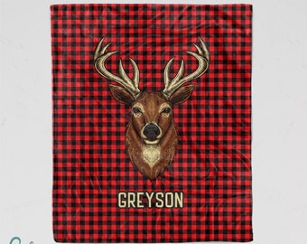 Personalized Deer Blanket - Super Soft Minky Blanket with Sizes for Baby, Child, Teen, or Adult! Red Buffalo Plaid Hunting Blanket with Buck