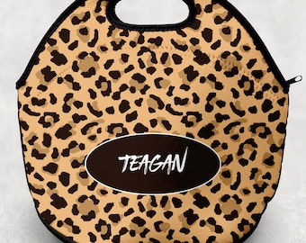 Personalized Animal Print Lunch Tote - Cheetah Leopard Print Lunch Bag for Kids - Washable Soft Neoprene - Lunchbox Daycare Preschool