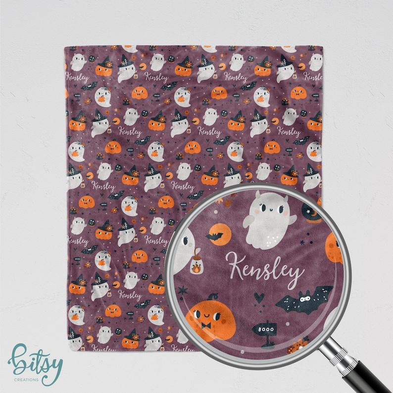 Personalized Halloween Blanket  Kawaii Ghosts Soft Minky image 0