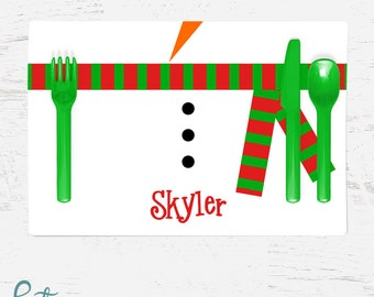 Personalized Christmas Placemat for Kids - Snowman Belly Placemat - Custom Made with Child's Name - Christmas Placemat
