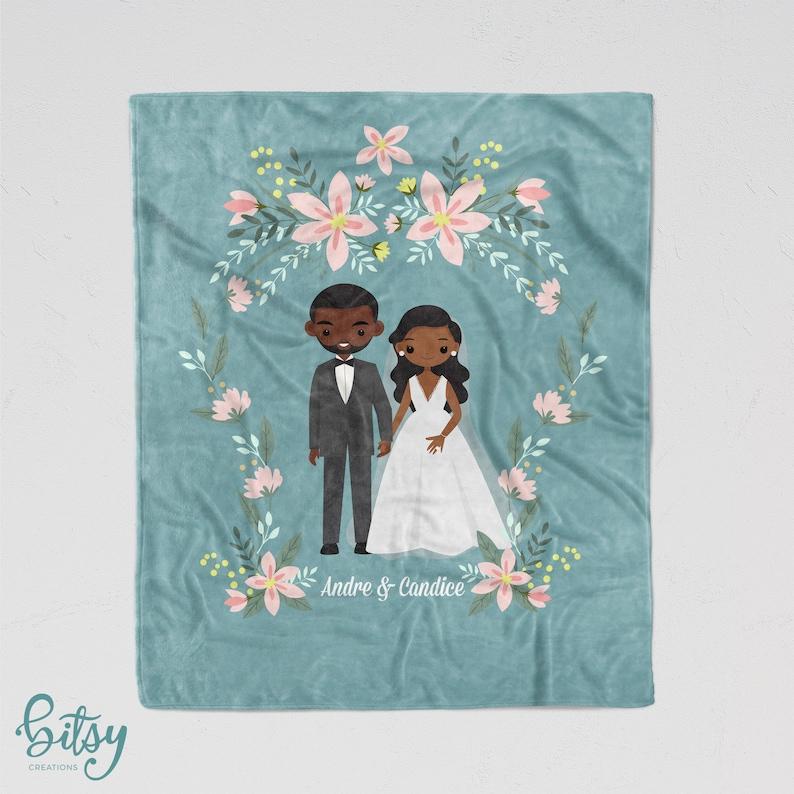 Cartoon Couple Blanket  Personalized Soft Minky Blanket  image 0