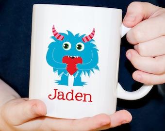 Plastic Child's Mug - Valentine Monster Mug Personalized with Child's Name - Dishwasher Safe