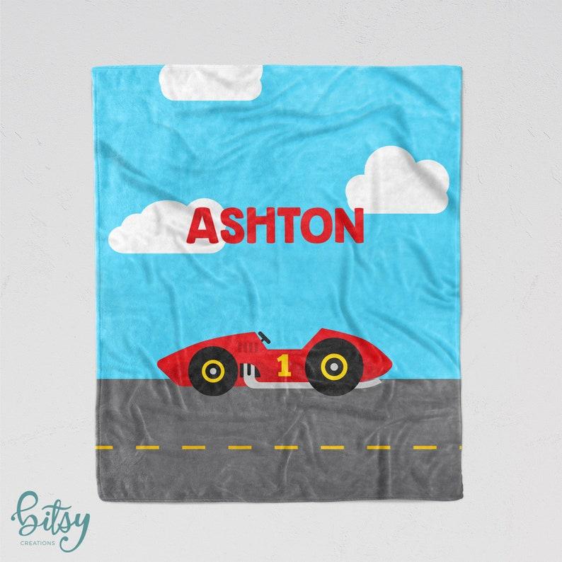 Personalized Racecar Blanket  Soft Minky Nursery Blanket with image 0