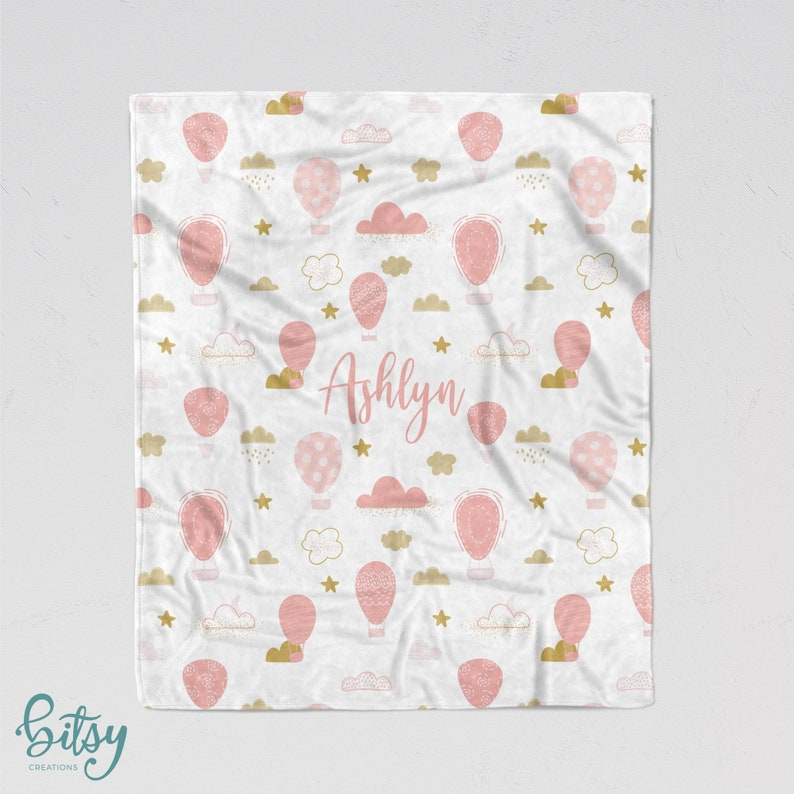 Personalized Blanket  Hot Air Balloons in Pink and Gold Soft image 0
