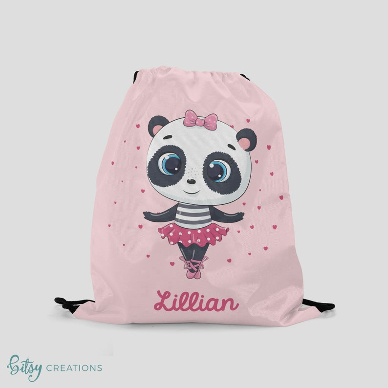 Ballerina Bag  Panda Drawstring Backpack  Personalized Pink image 0