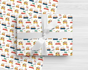 Personalized Christmas Wrapping Paper - Colorful Christmas Cars and Animals - Custom Made Christmas Gift Wrap with Any Name