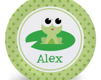 Frog Plate - Child's Plate - Child's Bowl - Baby Frog Green or Pink Melamine Bowl or Plate Personalized