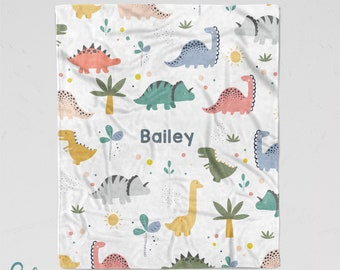 Personalized Dinosaur Friends Blanket - Soft Minky Blanket with Sizes for Baby, Child, Teen, or Adult! Colorful Cute Dinosaurs