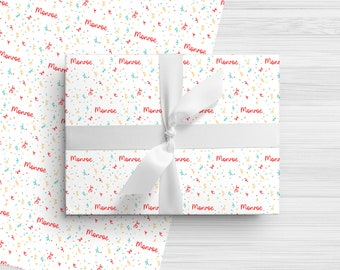 Personalized Birthday Wrapping Paper - Colorful Confetti - Custom Made Gift Wrap with Any Name