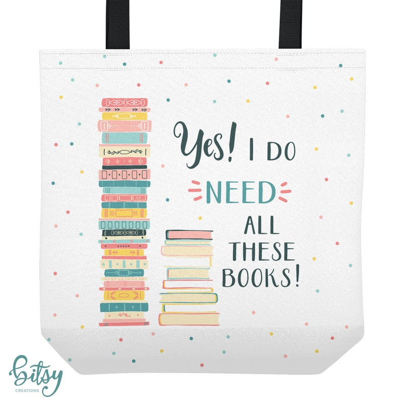 Personalized Library Tote Bag  Yes I Need All These Books  image 0