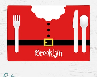 Personalized Christmas Placemat for Kids - Santa Belly Placemat - Custom Made with Child's Name - Christmas Placemat - Santa Claus