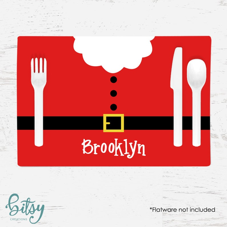 Personalized Christmas Placemat for Kids  Santa Belly image 0