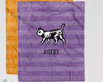 Personalized Halloween Blanket - Cat Skeleton Soft Minky Nursery Blanket with Sizes for Baby, Child, Teen, or Adult! Purple or Orange Stripe