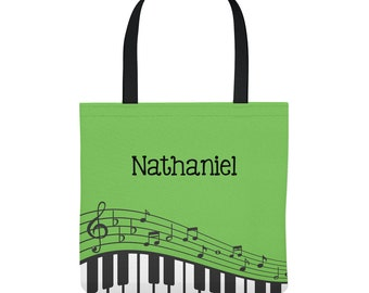Piano Lesson Bag - Personalized Tote Bag for Kids - Music Lessons - Piano Bag - Three Sizes - Green, Red, Blue